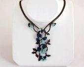Blue Necklace, Blue, Pansies Necklace, Aquamarine Necklace, Royal Blue Crochet Flower, Blue Rose Necklace - Blue - Statement Necklace,