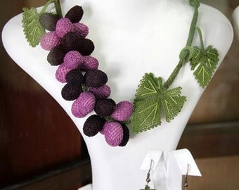 Purple Grapes Necklace Set with Matching Earrings
