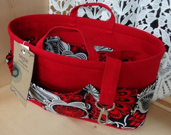 Purse ORGANIZER Insert SHAPER / Red Black Gray Floral On Red / With handles & Key fob / STURDY / 5 sizes Available / Bag Organizer