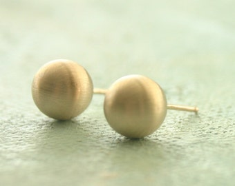 Gold Earrings, Matte Gold Stud Earrings, gold ball earrings, Jumbo 8mm, large gold stud earrings, gold post earrings