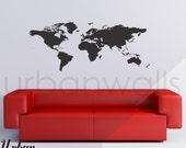 Vinyl Wall Sticker Decal Art - World Map