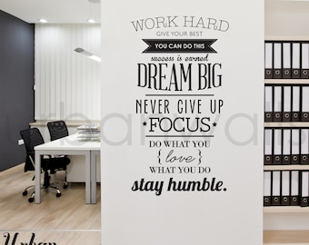 Vinyl Wall Sticker Decal, Work Hard