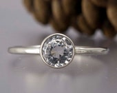 14k Gold and Moissanite Stone Engagement Ring - Thin Wedding Ring in solid white gold
