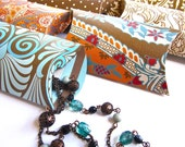 Pillow Boxes, Exotic African Safari, Set of 12 Tribal Brown Blue and Orange Patterned Gift Box Packaging