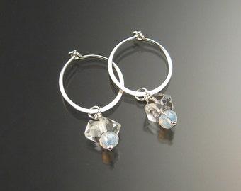 Natural Quartz Crystal Birthstone Hoop Earrings June birthstone White Hoops in Sterling silver
