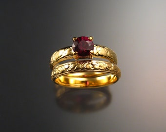 Garnet Wedding set 14k Yellow Gold Natural Raspberry Rhodolite Garnet Ruby substitute ring made to order in your size