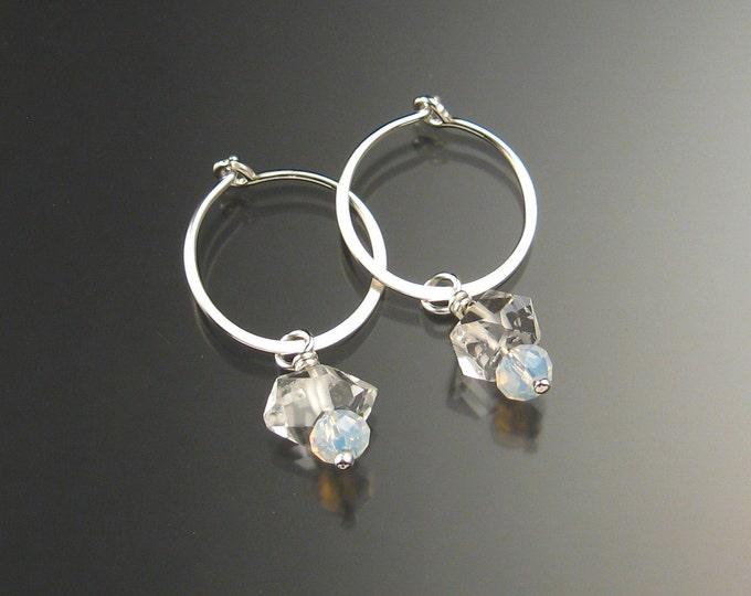 Natural Quartz Crystal Birthstone Hoop Earrings June birthstone White Hoops in Sterling silver
