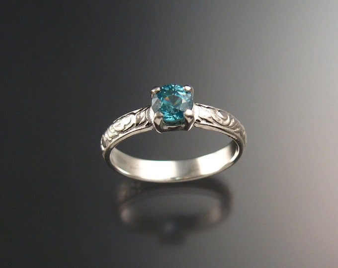 Blue Zircon Wedding ring Sterling Silver blue Diamond substitute ring made to order in your size