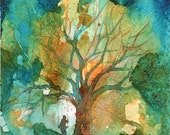 Tree an His Person Watercolor Signed Giclee Print
