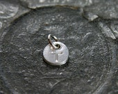Artisan Pure Silver Initial Pendant, Custom Hand Stamped Round Circle Charm - Add a Dangle