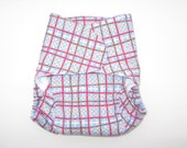 SALE - One-Size Fitted Cloth Diaper - Brown and Blue and Red Plaid- White Lining