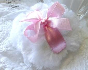 La Petite ANGEL Powder Puff - white and pink powderpuff - miniature plush pouf - gift box option -  by Bonny Bubbles