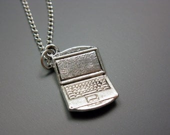 Laptop Necklace - stainless steel chain computer necklace geek necklace geeky jewelry nerdy jewellery nerd necklace cute funky quirky funny