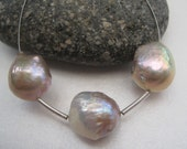 3x Rare Natural Lavender Platinum Nucleated Chinese Kasumi Pearls 12.5-13.5mm