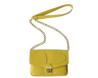 Hearts Leather Bag Yellow, handmade, heart, shoulder bag, Yellow leather bag, elegant bag