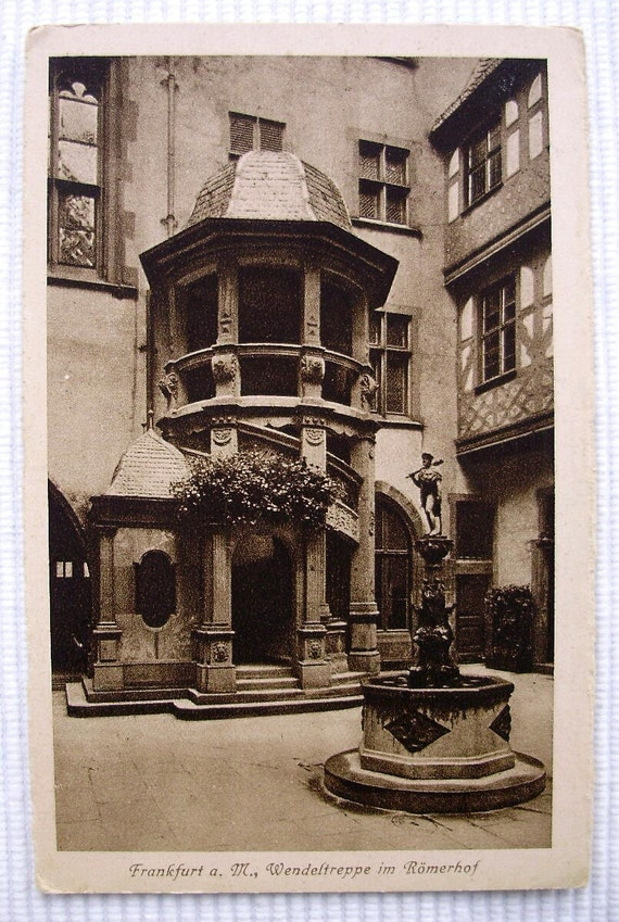 Spiral Staircase in Romerhof, Frankfurt, Germany. Vintage Unused Postcard