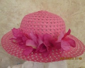 Girl's fuchsia floral dress hat - Church Hat - Tea Party Hat - Kentuky Derby Hat