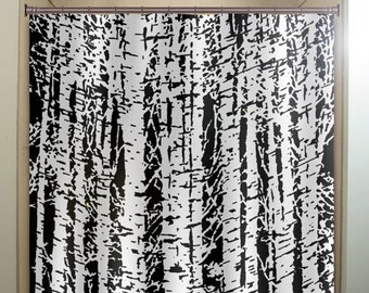 forest woodland white birch trees shower curtain bathroom decor fabric kids bath window curtains panels valance