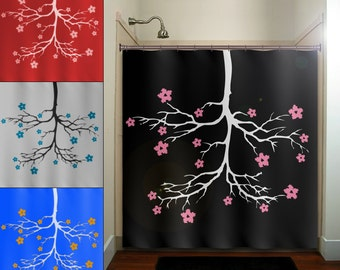 Chandelier Cherry Blossom Flower Tree Shower Curtain Bathroom Decor Fabric  Kids Bath Window Curtains Panels Valance