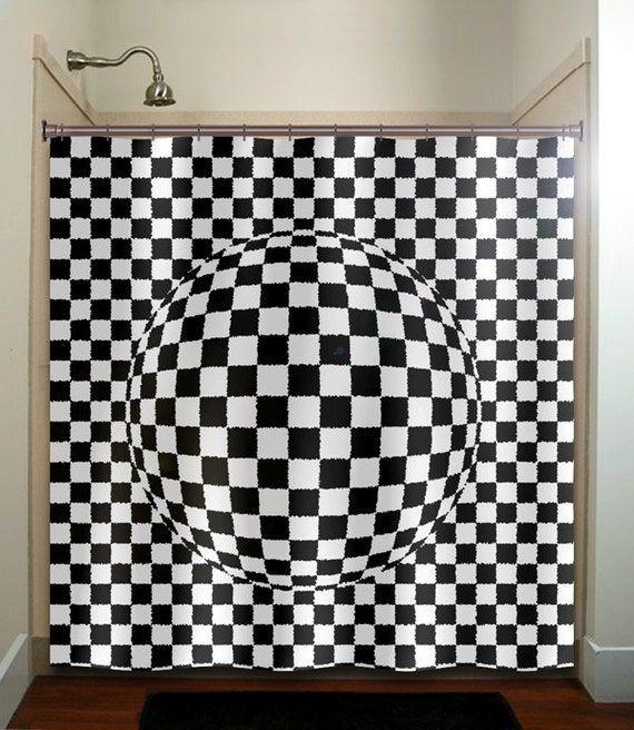 zen optical illusion geometric checkered shower curtain