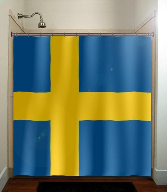 Items similar to sweden flag shower curtain bathroom decor for Bathroom decor panels