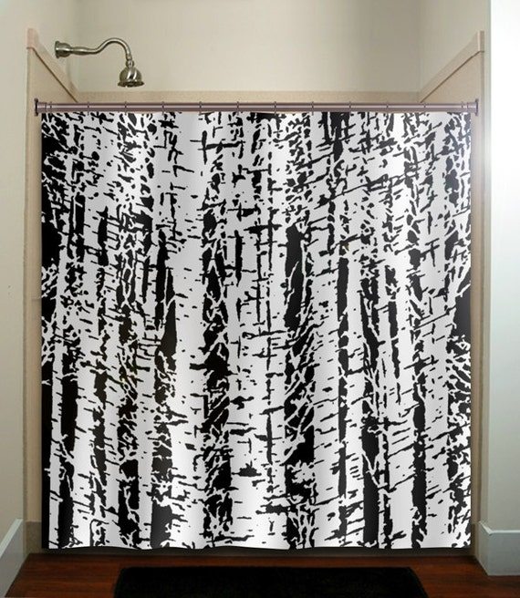 Forest Woodland White Birch Trees Shower Curtain Fabric Extra