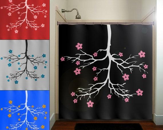 Chandelier cherry blossom flower tree shower curtain bathroom decor