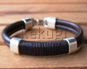 men brown leather bracelet with sterling silver plated spacer