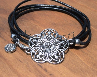 multi wrap 4 wraps black leather bracelet with silver plated flower connector