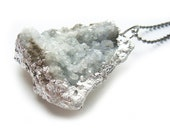 Celestite Crystal Cluster Pendant Silver Dipped