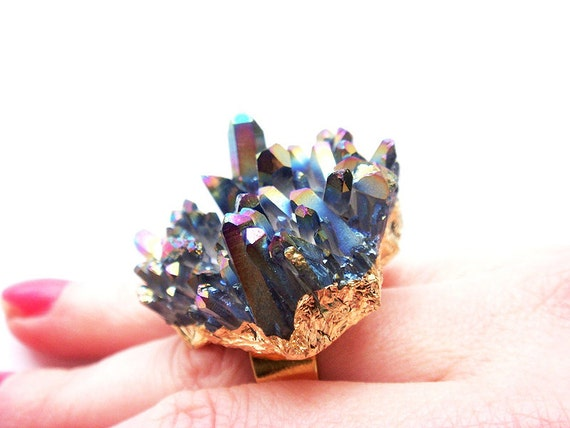 Huge Gold Plated Rainbow Titanium Quartz Crystal Druzy Ring