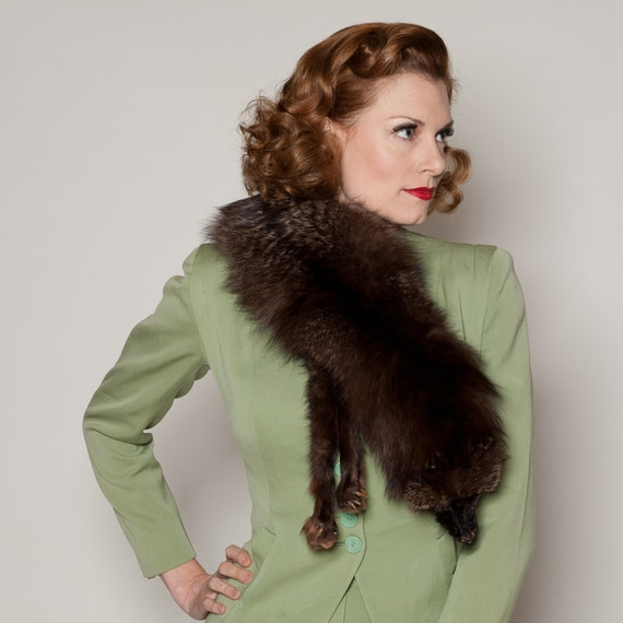Vintage 1930s fox fur scarf wrap stole collar winter fashions - Stoel fur ...