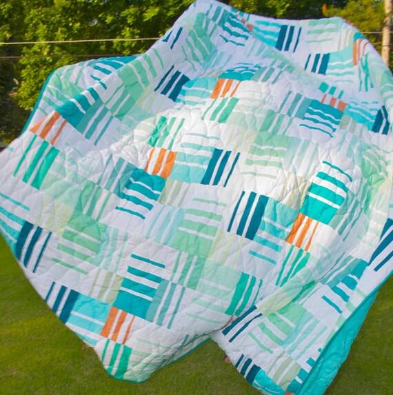Queen Quilt - Full Quilt - Patchwork, Handmade, Modern, Mediterranean, Ocean, Beach, Tropical - Stripes, Solid