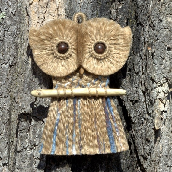Macrame Owl Wall Hanging, Perched on Lake Superior Driftwood