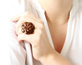 Brown bronze metallic leather flower ring