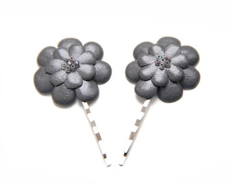 ALL funds are going to cat shelter - Grey leather flowers bobby pins - set of 2