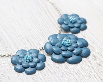 Necklace with blue leather flowers,  leather jewelry, floral necklace, Ethnic necklace, boho tribal necklace, gift for her