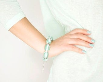Mint green fabric bead bracelet