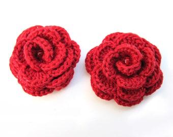 Crocheted red cotton flower elastic hair ties - Set of 2