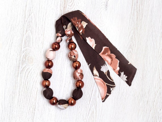 Brown Fabric bead necklace Vintage Flowers SALE