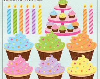 Cupcake Fun V1 Cute Digital Clipart for Card Design, Scrapbooking, and Web Design, Cupcake Clipart