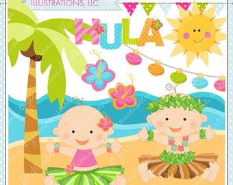 Hula Baby Cute Digital Clipart for Commercial or Personal Use, Luau Clipart, Hula Clipart, Tiki Baby