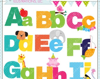 Illustrated Alphabet A - I Cute Digital Clipart for Commercial or Personal Use, Alphabet Clipart, Alphabet Graphics