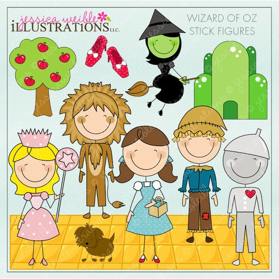 Wizard of Oz Stick Figures Digital Clipart for Invitations