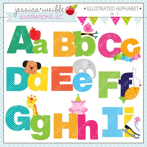 This Would Be Cute To Change Into The Welcome Letter To: Illustrated Alphabet A I Cute Digital Clipart For Commercial