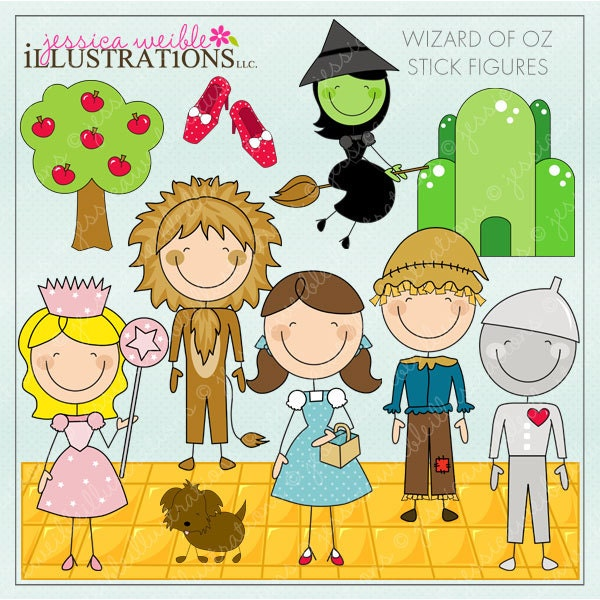 Clip Art Wizard Of Oz Clip Art wizard of oz clipart etsy stick figures digital for invitations card design scrapbooking and web clipart