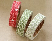 3 Set - Wish Wish Green Spin Red Heart String Adhesive Fabric Tapes (0.6in)