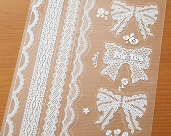 18 White Lace Ribbon & Long Lace Stickers (3.7 x 6.9in)