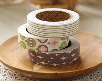 3 Set - Celebrate Stripe Ornament Sparkling Adhesive Fabric Tapes (0.6in)
