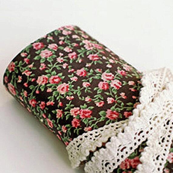 Antique Flower Reform Fabric Sticker - Brown (A4)